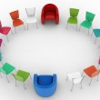 Two arm-chairs of chief and group of multicolored office chairs — Stock Photo #61237457