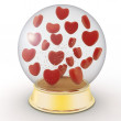 Snow globe with red hearts on white background — Stock Photo #61358353