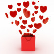 Hearts falling as gifts in a bag supermarket. The concept of a gift with love — Stock Photo #61358381