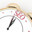 Time for seo concept clock closeup on white background with red word — Stock Photo #61718917