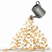 Gold dollars poured from a watering can. 3d render illustration  on white. — Stockfoto
