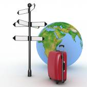 Travel concept. Signpost and suitcases on a globe background. 3d render illustration — Stock Photo