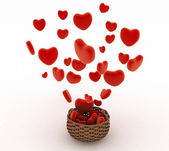 Heart falling into a wicker basket. The concept of a gift with love — Stock Photo