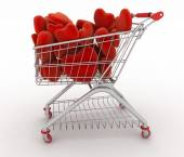 Supermarket trolley full of red hearts — Stock Photo
