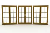 3d illustration of closed plastic windows on white background — Stock Photo