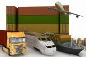 Types of transport of transporting are loads. 3d illustration on a white background — Stock Photo