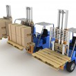 Постер, плакат: Three loaders with cargo and without cargo