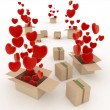 Hearts flying out of boxes. 3d render illustration on white background — Stock Photo #64783693