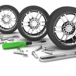 Wheel and Tools. Car service. Isolated 3D image — Stock Photo #64783741