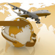 Passenger jet airplane travels around the world — Stock Photo #64784251