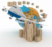 Cardboard boxes around the globe  and airplane. — Stock Photo