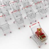 Many Shopping Carts. 3d render. — Stock Photo