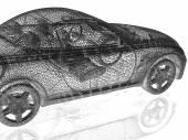 Modello di auto su sfondo bianco con riflessione — Foto Stock