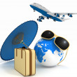 3d suitcase, airplane, globe and umbrella. Travel and vacation concept. Trendy signs - summer and journey. — Stock Photo #69170925