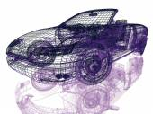 Framework of Model Car on White Background — Stock Photo