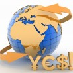 Earth globe and symbols of dollar, euro, yen — Stock Photo #71744389