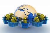 E-sign e-commerce shopping baskets around the globe — Stock Photo
