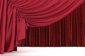 Open crimson theater curtain with light and shadows of the open, background — Stock Photo