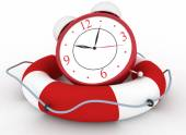 Concept of time to be Safe. Alarm clock with Life Buoy on a white — Stock Photo