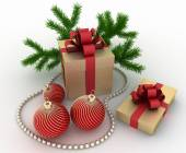 Golden gift boxes with christmas decorations on white — Stock Photo
