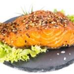 Smoked Salmon (over white) — Stock Photo #72762961