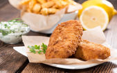 Fried Salmon Filet with Chips — Stock Photo
