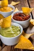 Salsa, Guacamole and Cheese — Stockfoto