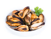 Fresh Mussels in bowl — Stock Photo