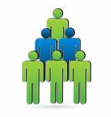Teamwork people tree shape logo — Stock Vector