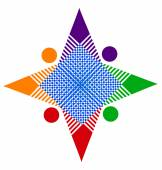 Teamwork abstract star in vivid colors unity logo concept — Stock Vector