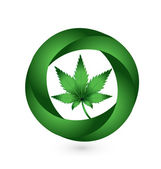Cannabis leaf in circle swooshes logo — Stockvector