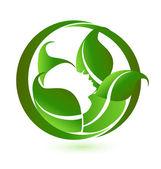 Femme en détente avec green leafs vector logo icône — Vecteur