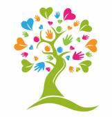 Tree hands and hearts figures logo icon vector — Stockvektor