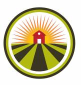 Sun agriculture landscape and farm harvest label icon logo — Stock Vector