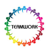 Logo teamwork business people union concept — Stok Vektör
