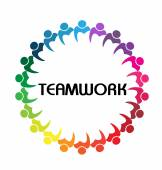 Logo teamwork business people union concept — Stockvector