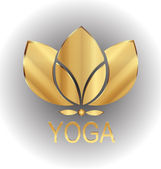 Lotus gold flower icon vector logo design — Stockvektor