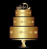 Cake gold logo vector design — Stock Vector