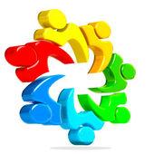 3D teamwork union people logo — Stock Photo