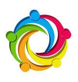 Teamwork unity people 3D logo — Stock Vector