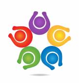 Teamwork happy people logo design template icon vector — Stock Vector