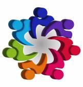 Teamwork unity 3D people logo vector — Stock Vector