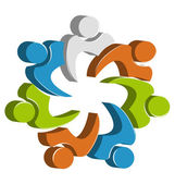 Teamwork unity people logo design template icon vector — Stock Vector