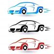 Speed sporting cars set of three colors logo vector icon — Stock Vector #63590483