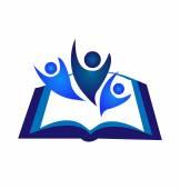 Teamwork book logo — Vetor de Stock