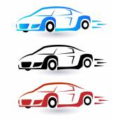 Speed sporting cars set of three colors logo vector icon — Stock Vector