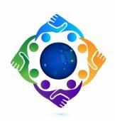 Handshake people in business logo — Stock Vector