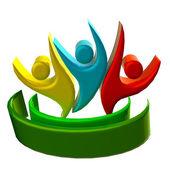 Logo teamwork 3D people icon — Stock Photo