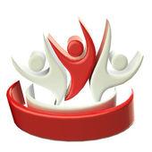 Logo teamwork 3D people icon — Foto de Stock