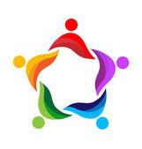 Teamwork unity people logo vector — Stock Vector